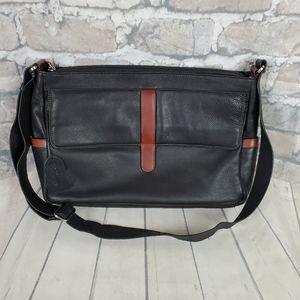 Derek Alexander Black Leather Messenger Bag
